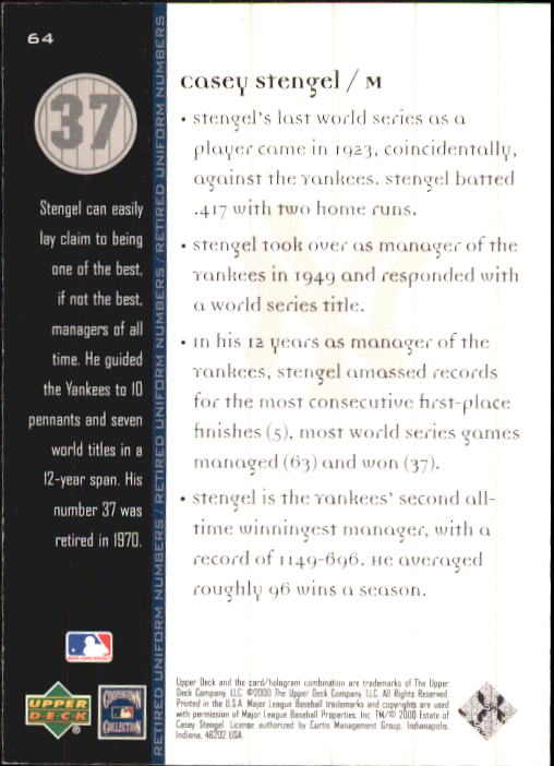 2000 Upper Deck Yankees Legends #64 Casey Stengel MN back image