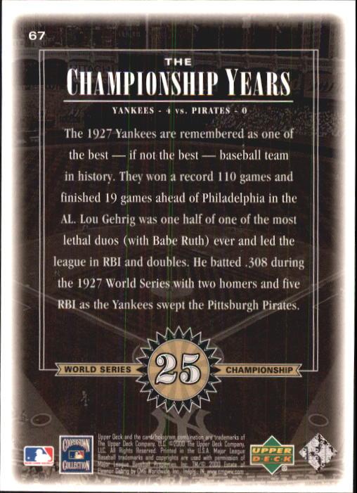 2000 Upper Deck Yankees Legends #67 Lou Gehrig '27 TCY back image