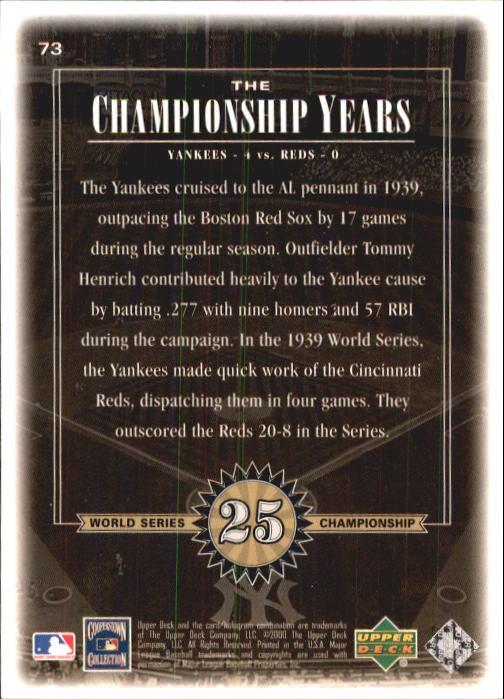 2000 Upper Deck Yankees Legends #73 Tommy Henrich '39 TCY back image