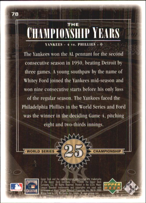 2000 Upper Deck Yankees Legends #78 Whitey Ford '50 TCY back image