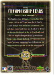 2000 Upper Deck Yankees Legends #86 Reggie Jackson '77 TCY back image