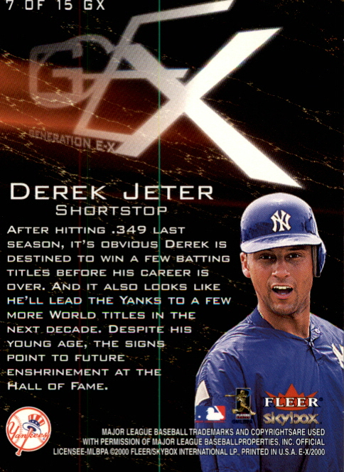 2000 E-X Generation E-X #7 Derek Jeter back image