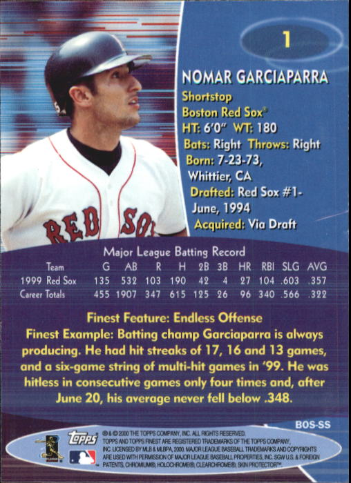 2000 Finest #1 Nomar Garciaparra back image