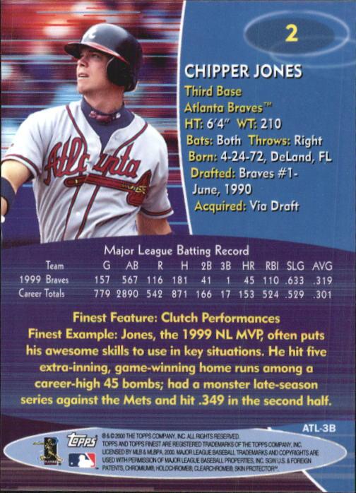 2000 Finest #2 Chipper Jones back image