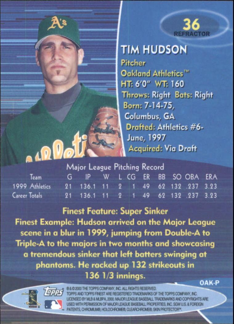 2000 Finest Refractors #36 Tim Hudson back image