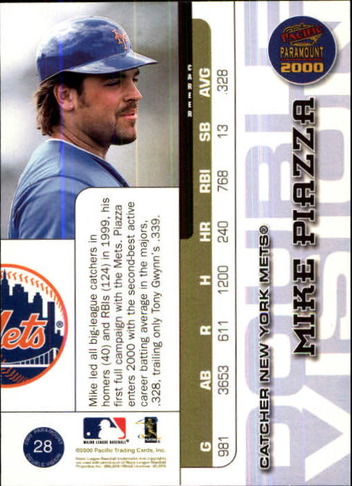 2000 Paramount Double Vision #28 Mike Piazza back image