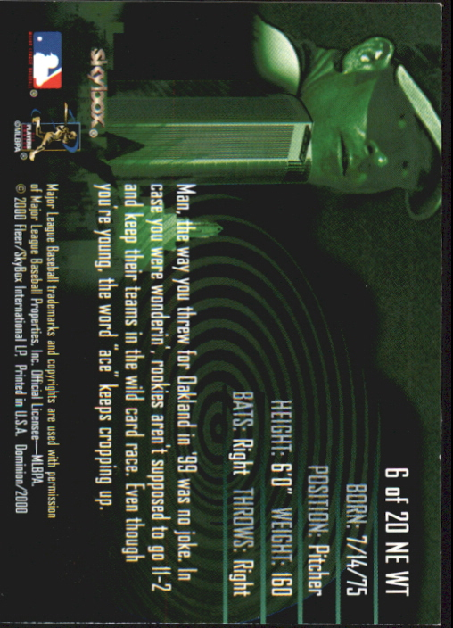 2000 SkyBox Dominion New Era Warp Tek #N6 Tim Hudson back image