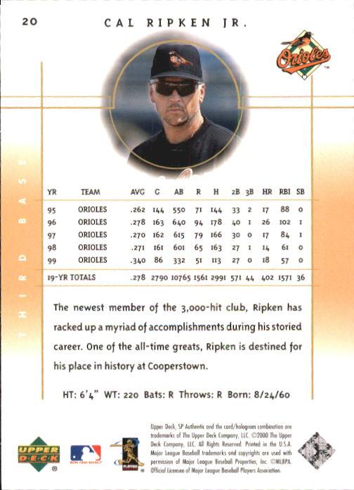 2000 SP Authentic #20 Cal Ripken back image