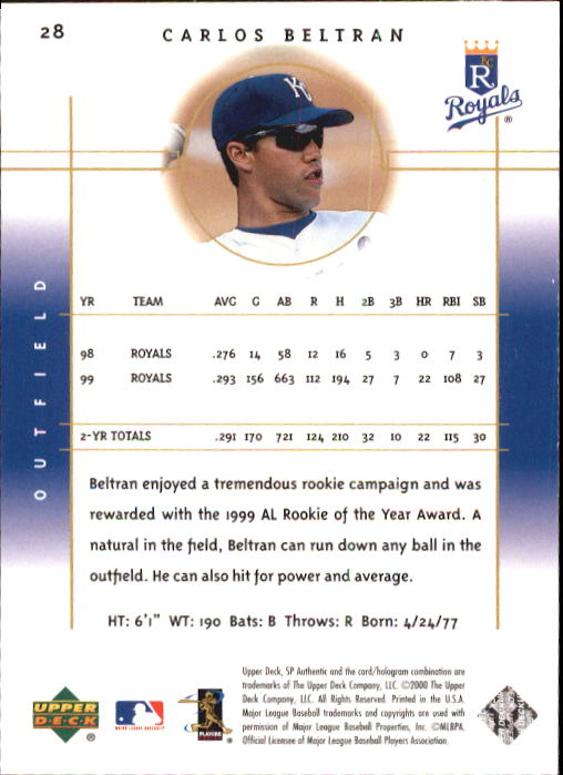 2000 SP Authentic #28 Carlos Beltran back image