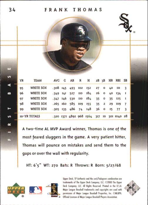 2000 SP Authentic #34 Frank Thomas back image