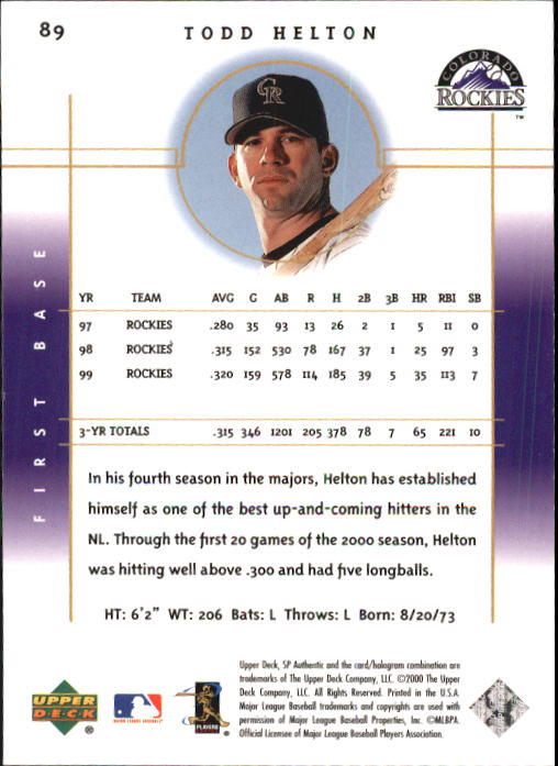 2000 SP Authentic #89 Todd Helton back image