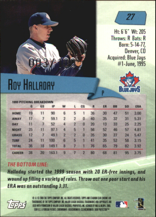 2000 Stadium Club Chrome First Day Issue #27 Roy Halladay back image