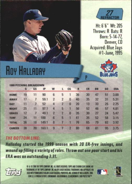 2000 Stadium Club Chrome Refractors #27 Roy Halladay back image