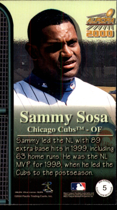 2000 Aurora Dugout View Net Fusions #5 Sammy Sosa back image