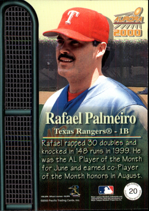 2000 Aurora Dugout View Net Fusions #20 Rafael Palmeiro back image