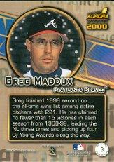 2000 Aurora Pennant Fever #3 Greg Maddux back image