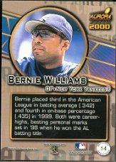 2000 Aurora Pennant Fever #14 Bernie Williams back image