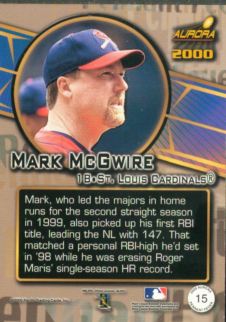 2000 Aurora Pennant Fever #15 Mark McGwire back image