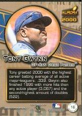 2000 Aurora Pennant Fever #16 Tony Gwynn back image
