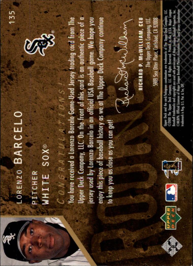 2000 Black Diamond Rookie Edition #135 Lorenzo Barcelo JSY RC back image