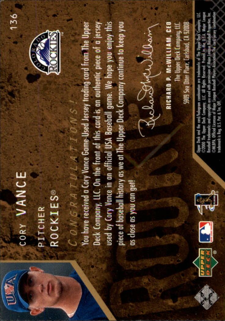 2000 Black Diamond Rookie Edition #136 Cory Vance JSY RC back image