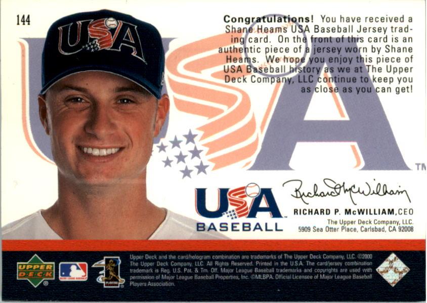 2000 Black Diamond Rookie Edition #144 Shane Heams USA RC back image