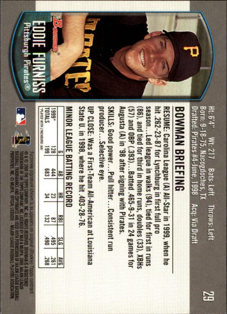 2000 Bowman Draft #29 Eddy Furniss RC back image