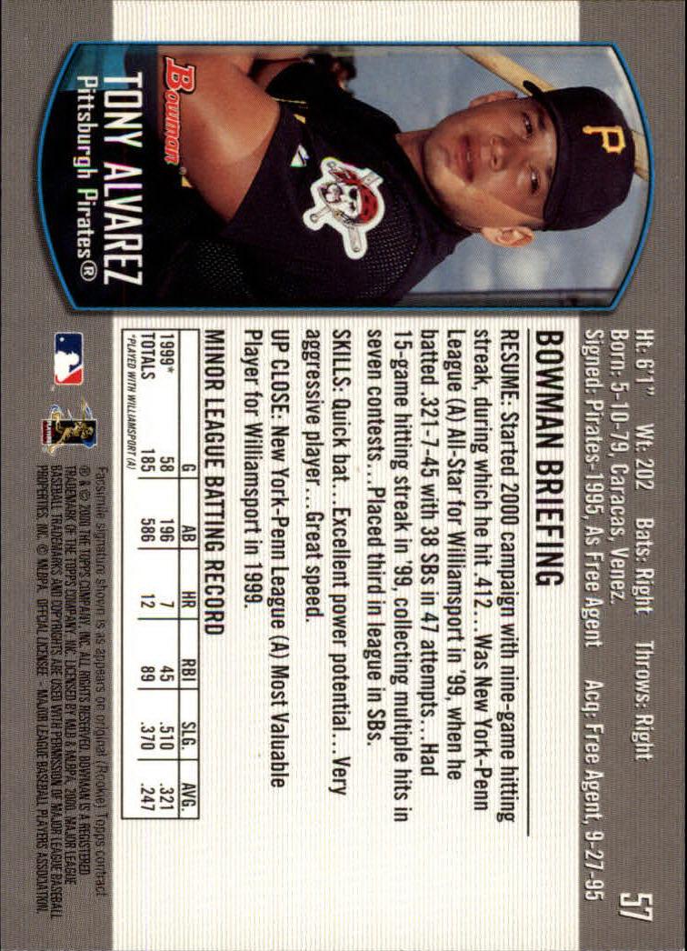2000 Bowman Draft #57 Tony Alvarez RC back image
