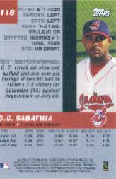 2000 Bowman's Best #118 C.C. Sabathia back image