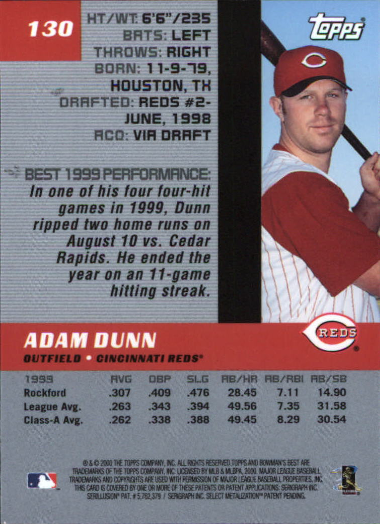 2000 Bowman's Best #130 Adam Dunn back image