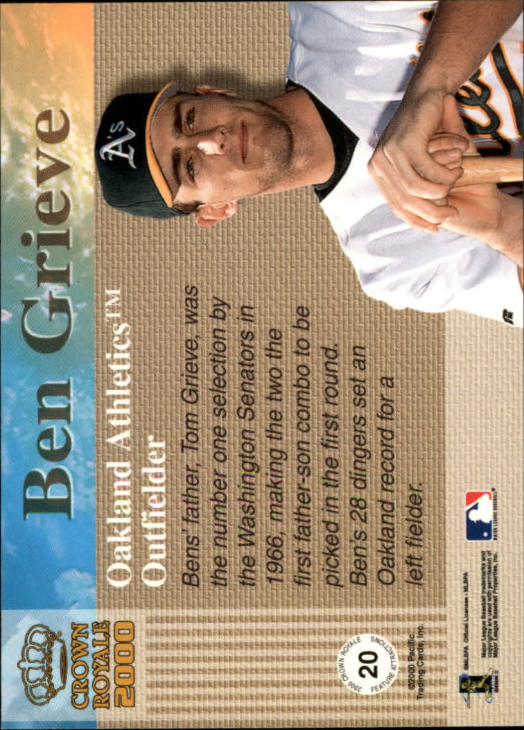 2000 Crown Royale Feature Attractions Exclusive Showings #20 Ben Grieve back image