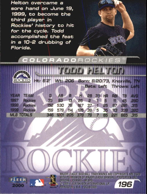 2000 Fleer Focus #196 Todd Helton back image