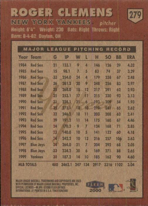 2000 Fleer Tradition #279 Roger Clemens back image