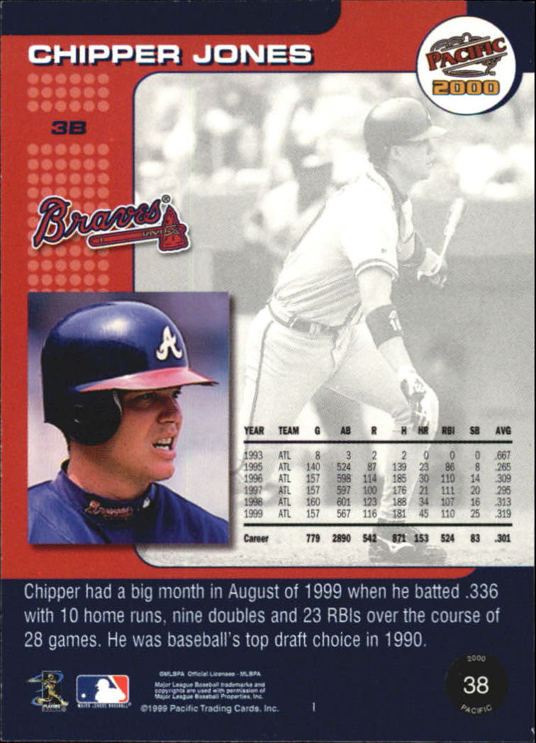2000 Pacific #38 Chipper Jones* back image