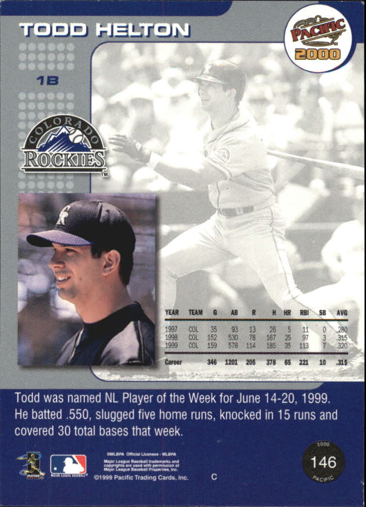 2000 Pacific #146 Todd Helton back image