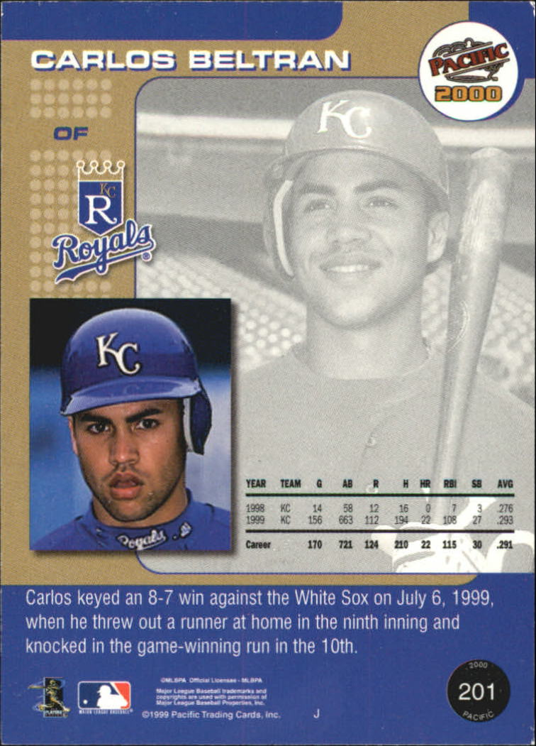 2000 Pacific #201 Carlos Beltran* back image
