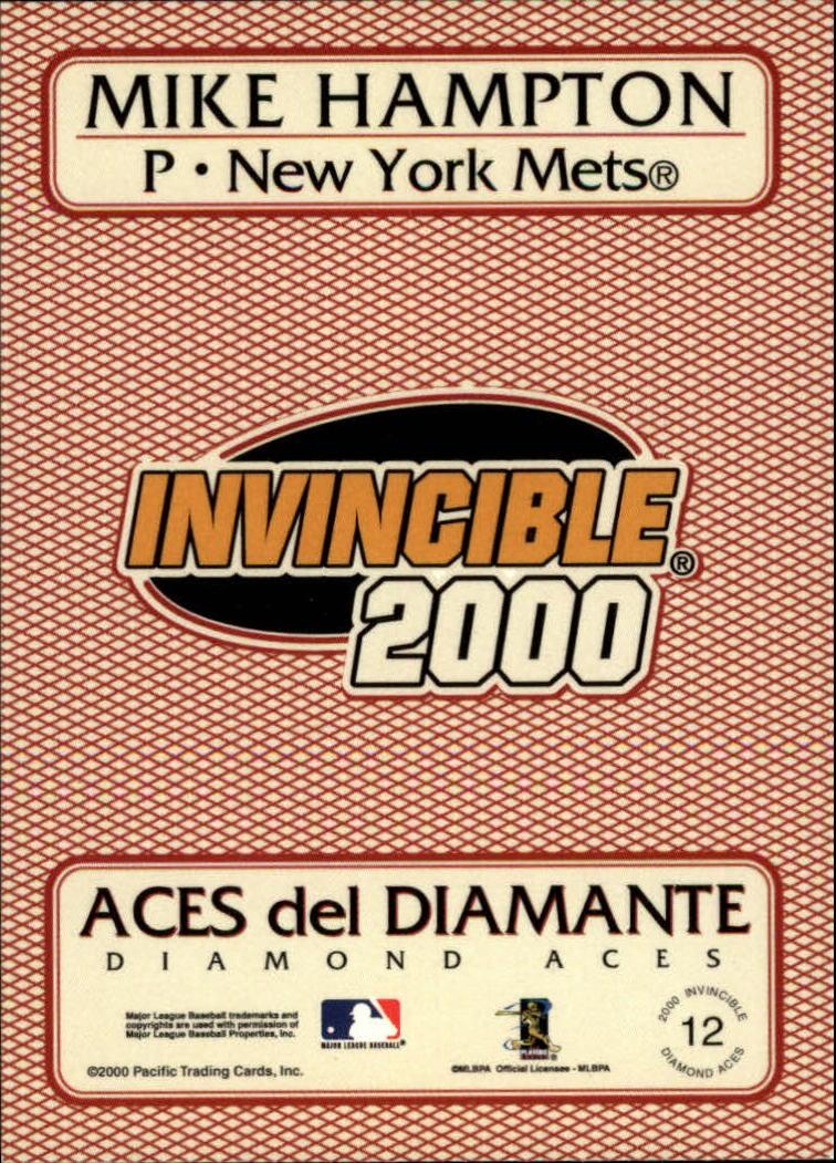 2000 Pacific Invincible Diamond Aces #12 Mike Hampton back image