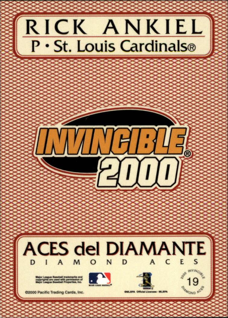 2000 Pacific Invincible Diamond Aces #19 Rick Ankiel back image