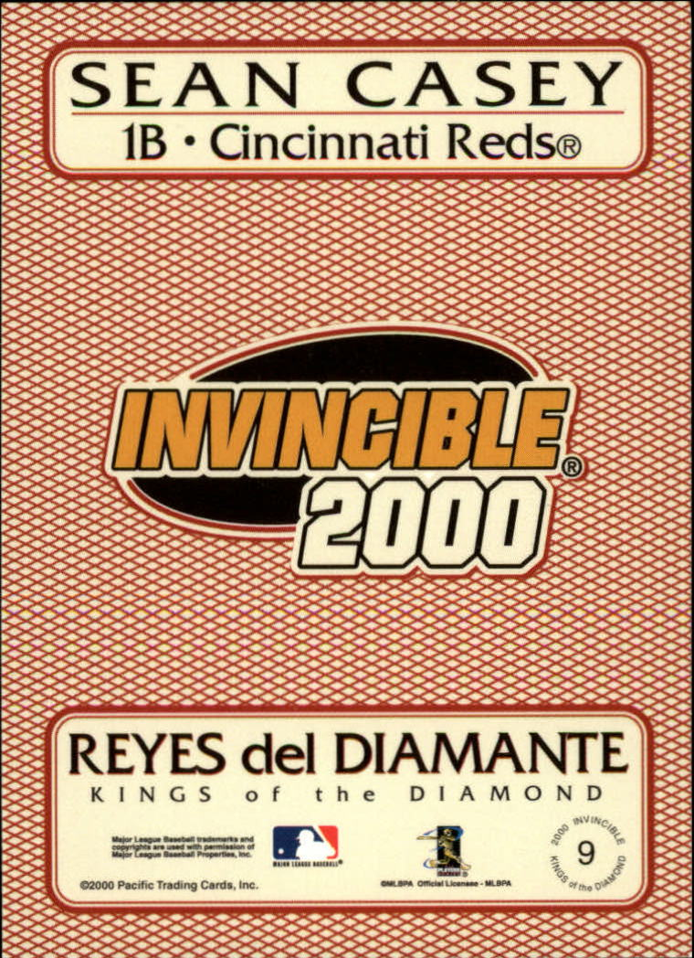 2000 Pacific Invincible Kings of the Diamond #9 Sean Casey back image