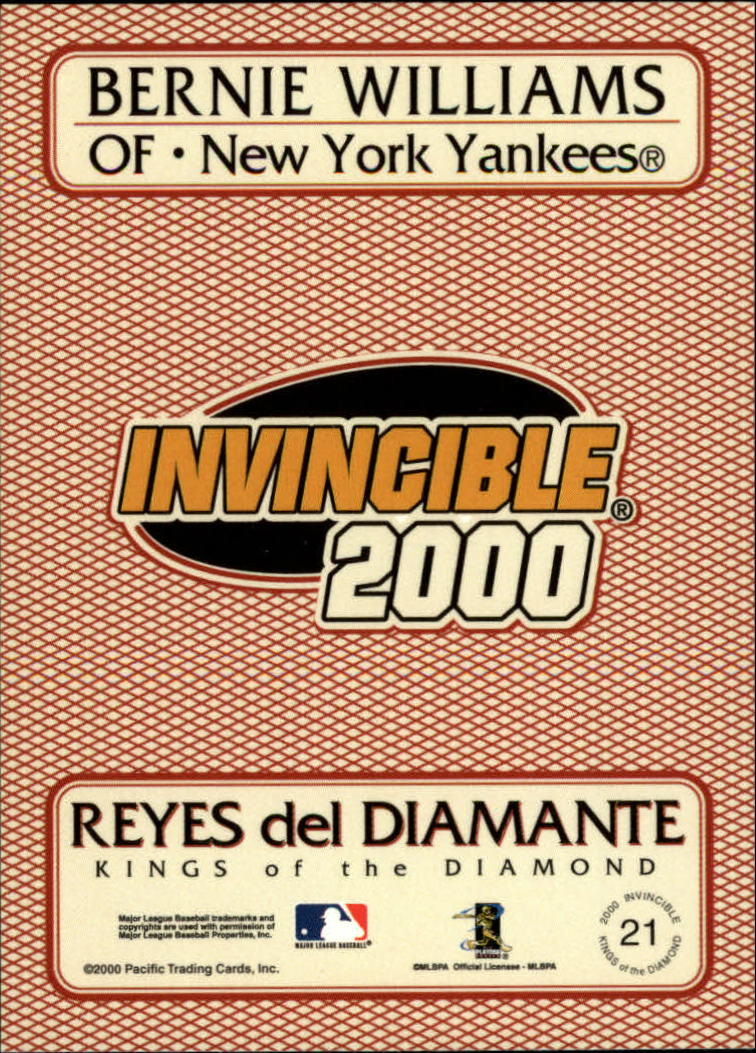 2000 Pacific Invincible Kings of the Diamond #21 Bernie Williams back image