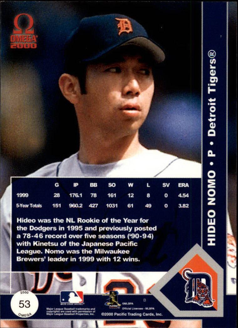 2000 Pacific Omega #53 Hideo Nomo back image