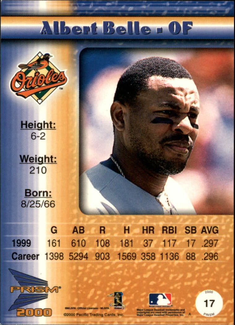 2000 Pacific Prism Rapture Silver #17 Albert Belle back image