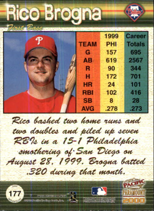 2000 Paramount Holographic Gold #177 Rico Brogna back image