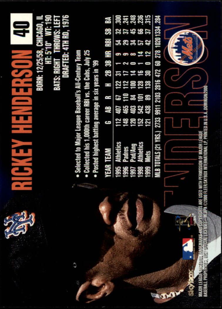 2000 SkyBox Dominion #40 Rickey Henderson back image