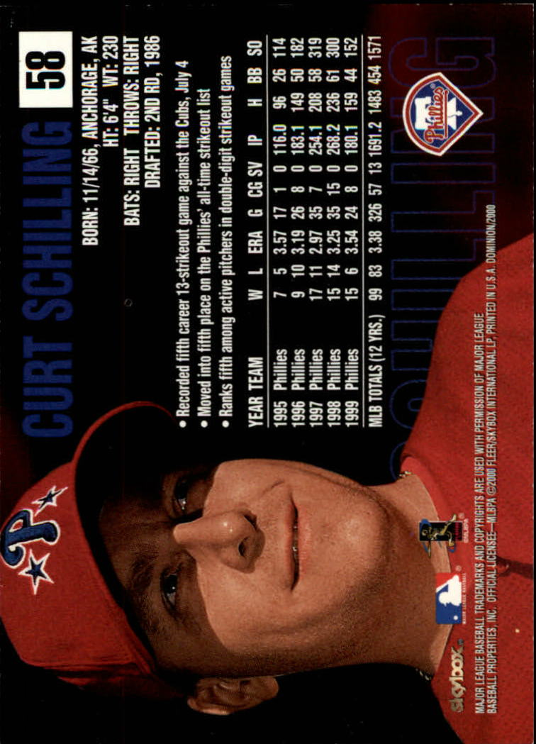 2000 SkyBox Dominion #58 Curt Schilling back image