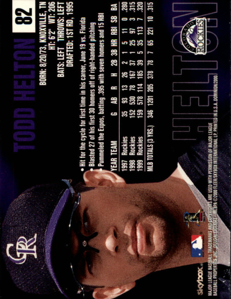 2000 SkyBox Dominion #82 Todd Helton back image