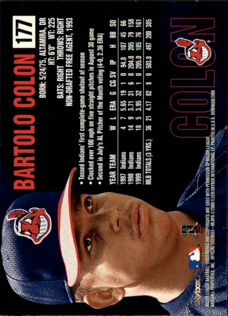 2000 SkyBox Dominion #177 Bartolo Colon back image