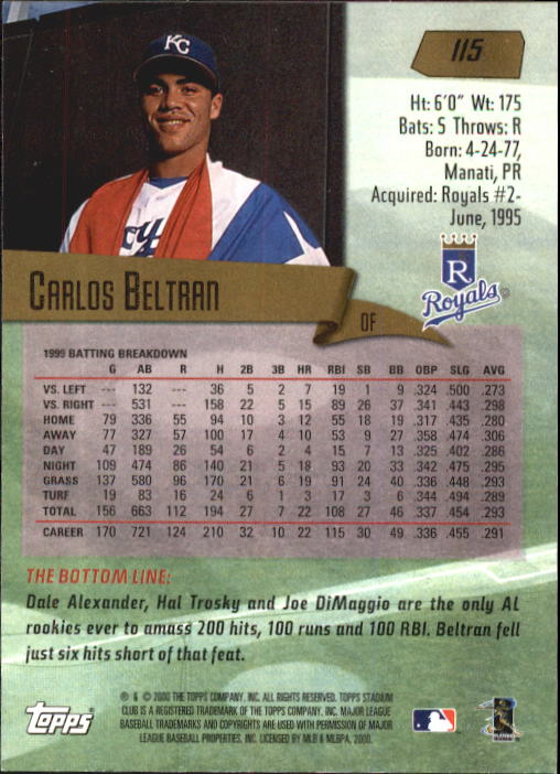 2000 Stadium Club #115 Carlos Beltran back image