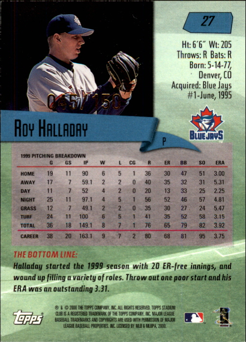 2000 Stadium Club First Day Issue #27 Roy Halladay back image