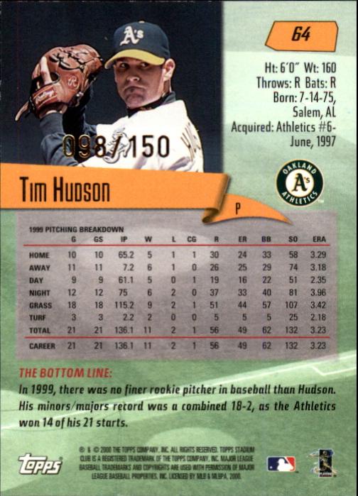 2000 Stadium Club First Day Issue #64 Tim Hudson back image